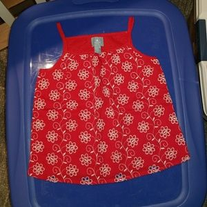 Girls Red and White Eyelet Tank Top